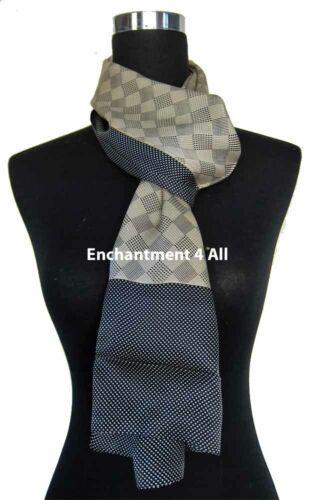 Beige//Navy Double Layer 100/% Silk Satin Neck Scarf Wrap
