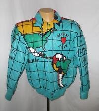 Lmtd Ed. Jeff Hamilton World Peace Global Love Map Leather Bomber Jacket Coat S