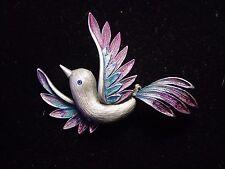 """""""JJ"""" Jonette Jewelry Silver Pewter Blue & Purple 'Up-Winged BIRD' Pin"""