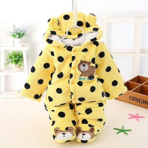 Newborn Girl Boy Fleece Hooded Romper Plush Jumpsuit Winter Warm Outfits WL