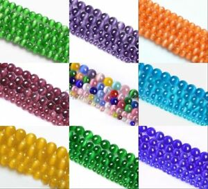 Cats-Eye-Round-Ball-Crystal-Glass-Loose-Spacer-Beads-4-6-8-10mm