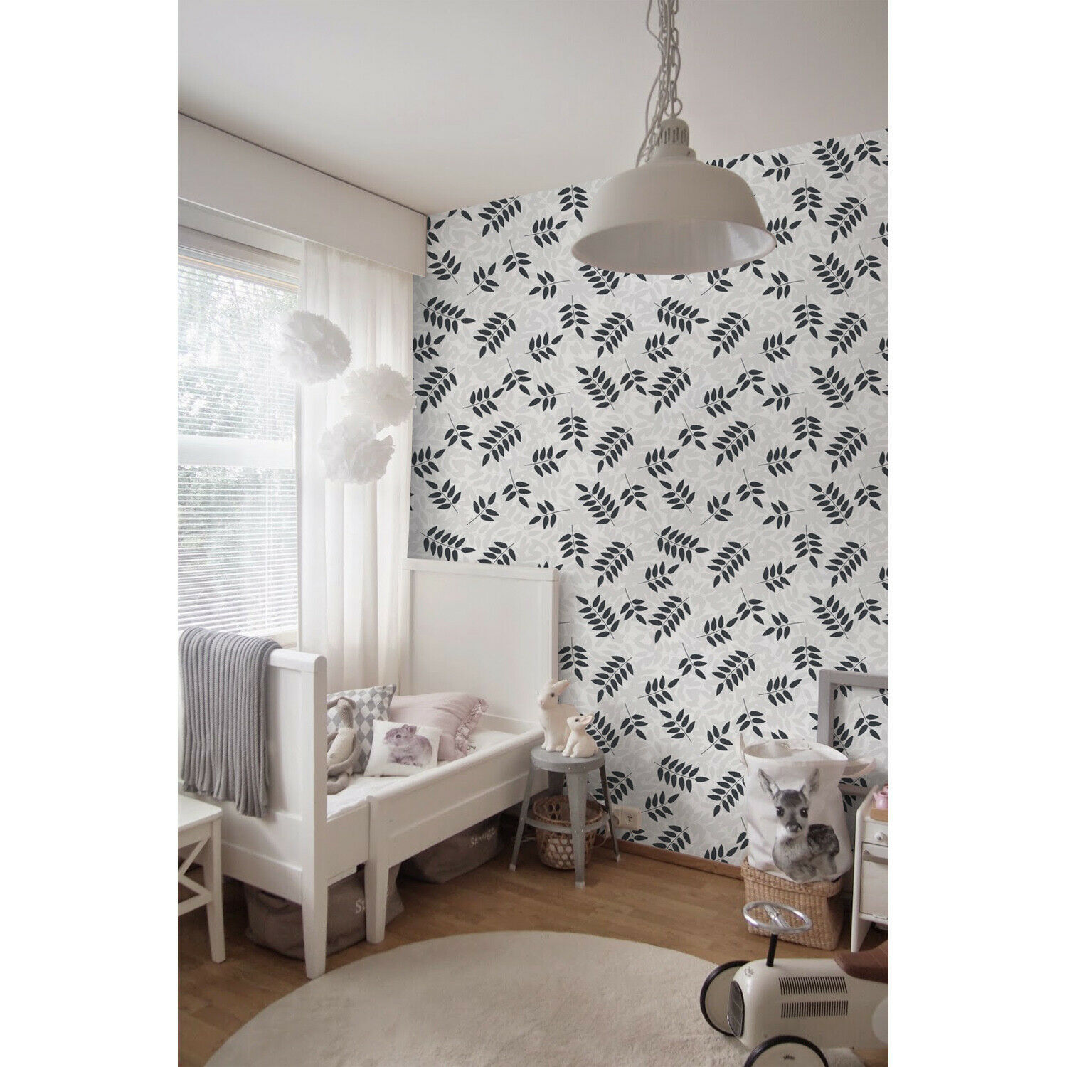 Monochrome Leaves Delicate Pattern Non-woven wallpaper Wall Mural Decal