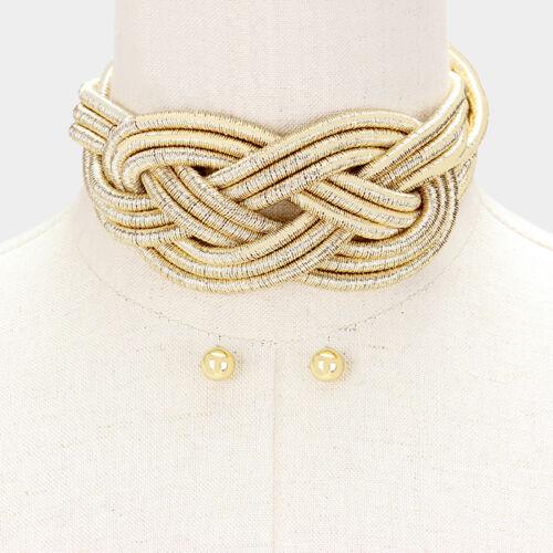 Hot Celebridad declaración Gargantilla Collar conjunto oro trenzado en capas de rocas Boutique