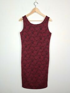 Somerset Bay Burgundy Jacquard Floral Rose Sheath Dress Women's Size 3 ~ 10/12