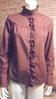 MSSR long sleeve wine burgundy downton steam punk ruffle shirt blouse New 12