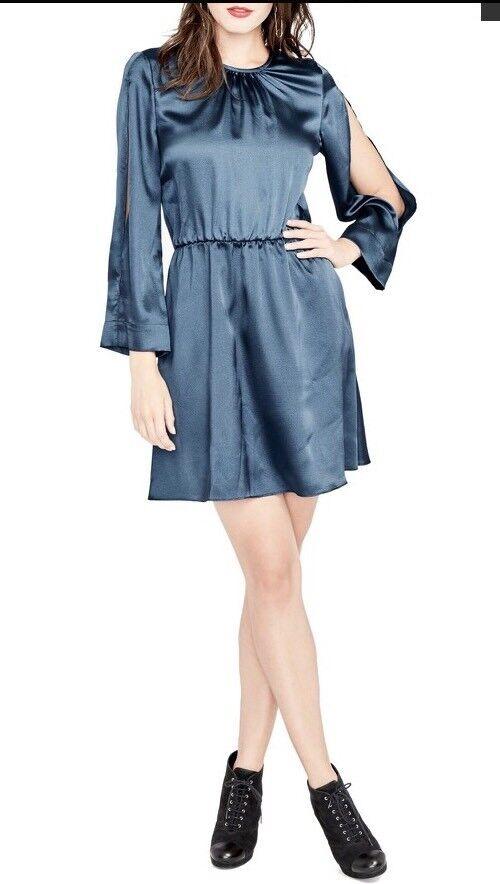 Rachel Roy Julia Draped Sleeve Dress Cocktail Evening Teal Blau S NWT