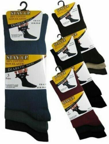 Homme 99/% coton rester Non Élastique Ample Top Diabetic Socks /& Main Lié Orteil