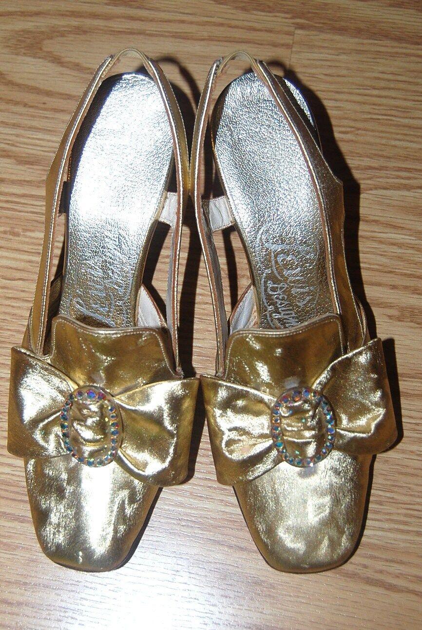 GOLD lame Slingback Princess CRYSTAL Renaissance bow pumps Court shoe 4 5 USA