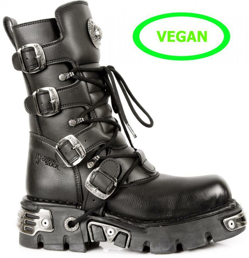 Bota PIEL VEGAN animal friendly NEW ROCK Unisex -Estilo Gótico -M.373-S7
