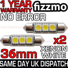 2x 36mm NUMBER PLATE INTERIOR ERROR 6000K WHITE 3 SMD LED C5W FESTOON LIGHT BULB