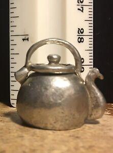 Vintage Thimble Teapot Kettle Stephen Frost Pewter Thimble England Lid Lifts!