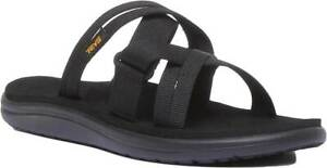 Teva-Voya-Slide-Women-Canvas-Twin-Strap-Sandals-In-Black-Size-UK-3-8