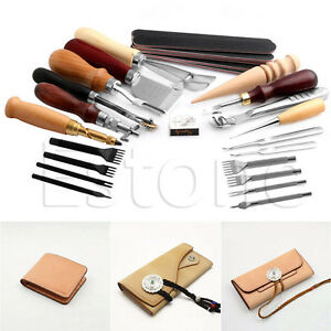 25pcs-Leather-Craft-Punch-Tools-Stitching-Carving-Working-Sewing-Saddle-Groover