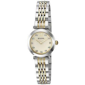 Bulova-Women-039-s-Quartz-Diamond-Accents-Champagne-Dial-Two-Tone-25mm-Watch-98P154