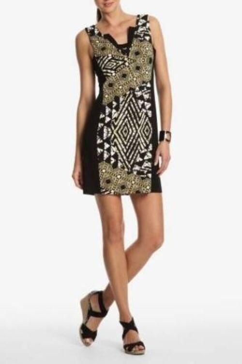 NWT BCBG MAX AZRIA GoldEN CANARY COMBO DRESS M