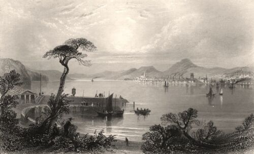 Dundee, from the opposite side of the Tay. Scotland. BARTLETT c1840 old print