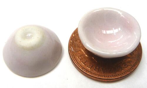 Escala 1:12 2 Tazones De Cerámica Rosa 1.5cm tumdee Muñecas en Miniatura Cocina P12