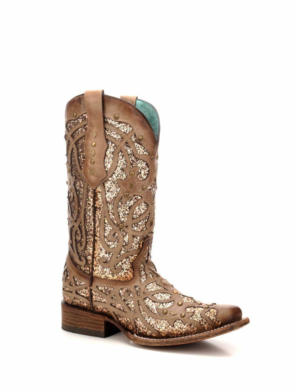 Corral Damen Western Quadratisch Leder Zehen Stiefel Orix Glitzernde Einlage