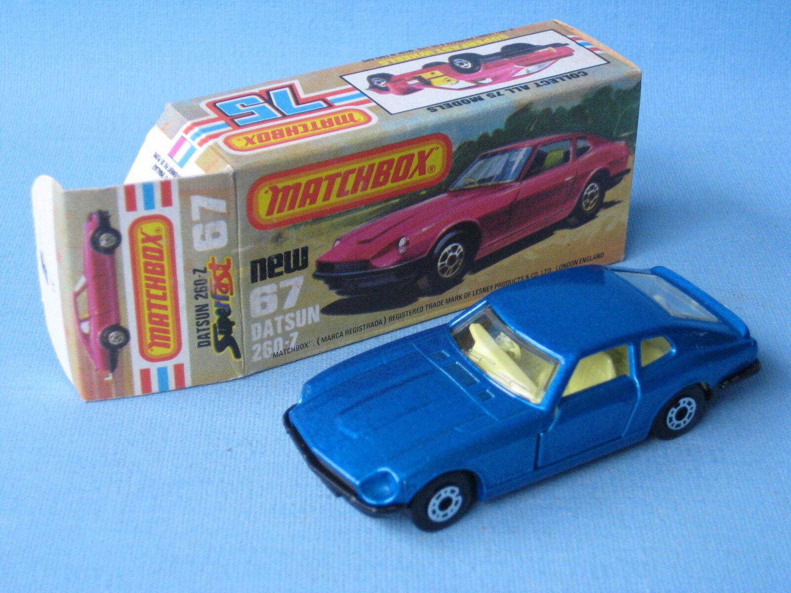 Lesney Matchbox Superfast 67 Datsun 260Z bluee Body Boxed England Toy Model Car