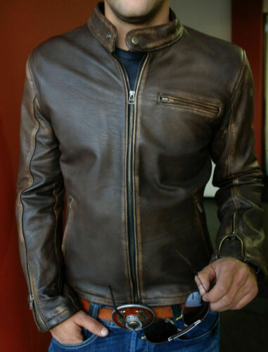 New Mens Biker Vintage Motorcycle Distressed Brown Cafe Racer Leather Jacket