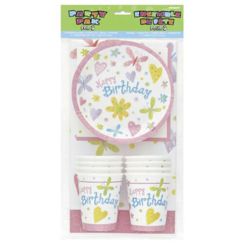 25 Piezas Rosa Mariposas Chicas Feliz Cumpleaños Completo Vajilla De Fiesta Pack Set