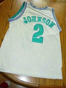 info for b95c3 6c0ed Details about Vintage Rare 90s Larry Johnson Champion Jersey Charlotte  Hornets Sz 44 NBA White