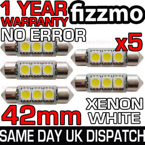 5x-42mm-NUMBER-PLATE-INTERIOR-6000k-BRIGHT-WHITE-3-SMD-LED-C5W-264-FESTOON-BULB