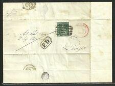 Toscana 1851 - 4 cr. Lettera annullo Muto di Siena e DC Rosso per Perugia ASI086
