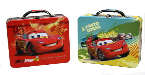 Walt Disney/'s Cars 2 Large Carry All Tin Tote Lunchboxes Set of 2 NEW UNUSED