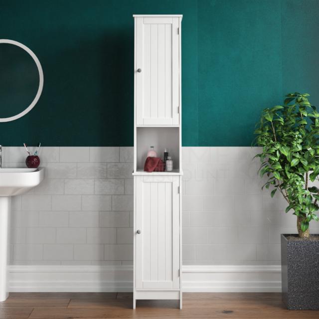 Priano 2 Door 5 Shelf Free Standing, Mirrored Free Standing Bathroom Cabinet