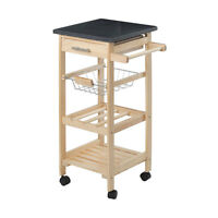 Kitchen Trolley Pinewood Black Granite Top For Everyday Cooking High Quality