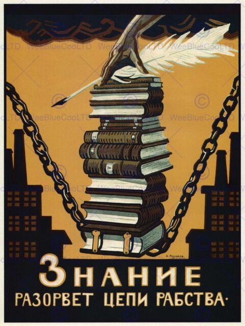 POLITICAL PROPAGANDA KNOWLEDGE BREAK CHAINS SLAVERY SOVIET UNION POSTER 1864PY