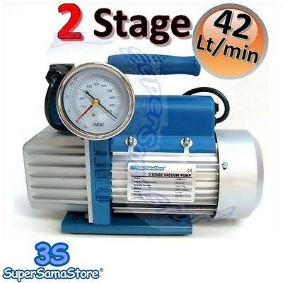 3S VACUUM PUMP 1.5 CFM Double 2 Stage with GAUGE SOLENOID VALVE 42 Lt/min 1/4 Hp