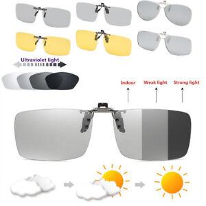 56961f58ca7b Image is loading UV400-Photochromic-Polarized-Lenses-Clip-On-Sunglasses- Driving-