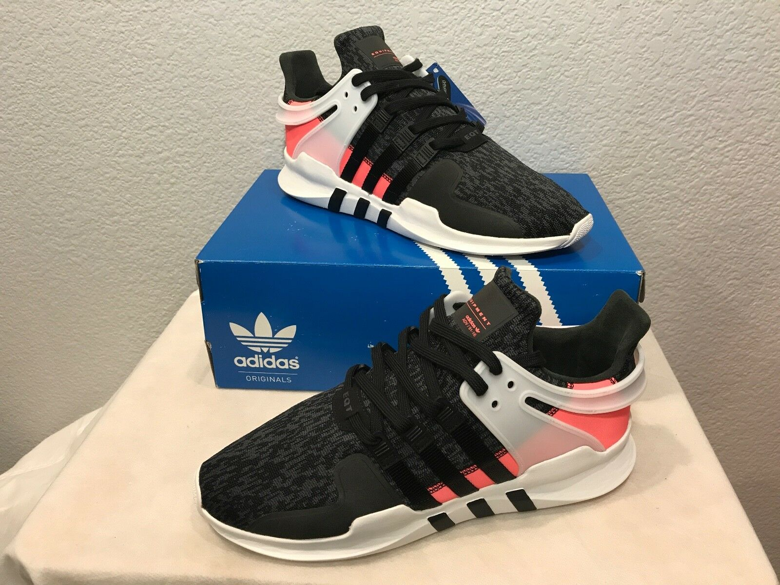 NEW ADIDAS EQT SUPPORT ADV SHOES 91 16 (BB1302) BLACK TURBO RED MEN'S SIZE 13
