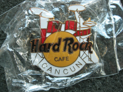 Hard Rock Cafe Pins CANCUN HOT RED & WHITE DRUM SET 4 LINES TAC BACK!