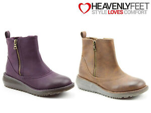 Ladies-Casual-Ankle-Boots-Heavenly-Feet-Low-Wedge-Heel-Memory-Foam-Zip-Shoes