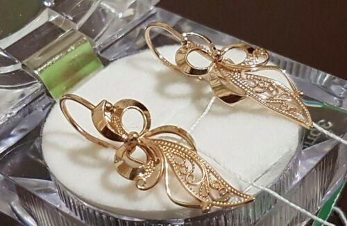 Russian Earrings NEW Solid Rose Gold 14K 585 fine jewelry 2.8g long USSR Soviet
