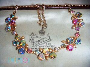 VINTAGE-Special-Tutti-Frutti-Aurora-Borealis-Crystal-Rhinestone-NECKLACE-Gift