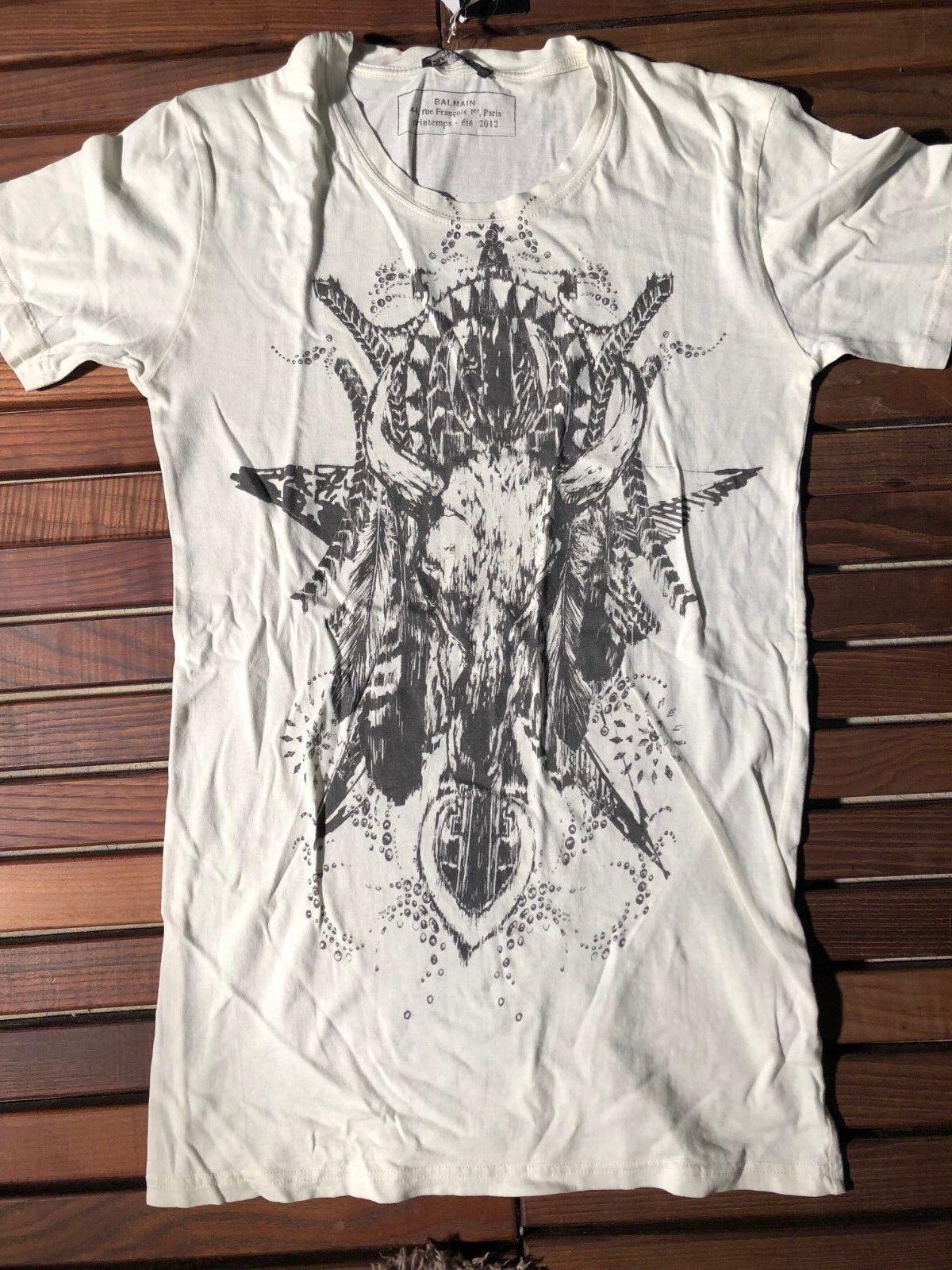 Balmain Weiß Buffalo T-shirt Größe XS New