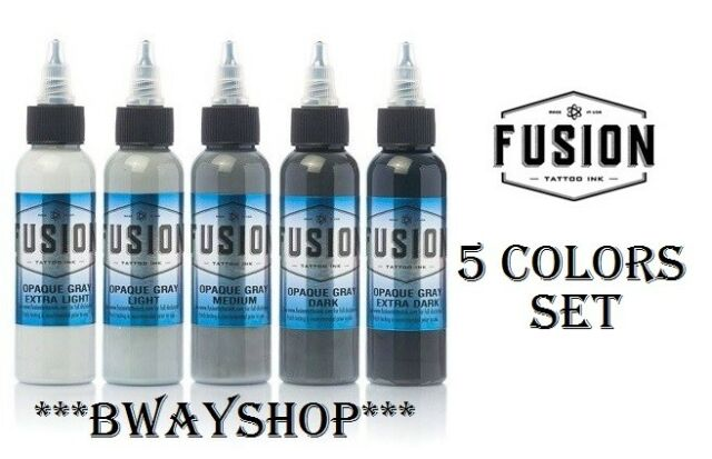 FUSION Tattoo Inks Opaque Gray Set of 5 Colors 1 oz 30 ml Bottle Authentic USA