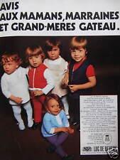 PUBLICITÉ 1970 LUC DE BEVERE VÊTEMENTS POUR LES PETITS ENFANTS GÂTÉS