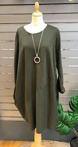 Blasenpflaster 2 Pocket einfache Tulip/Fallschirm Cocoon Kleid Saum Kleid 10-20 * khaki *