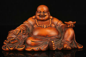 China-Old-Collectible-Hand-carved-boxwood-Maitreya-statue-Desktop-Ornaments