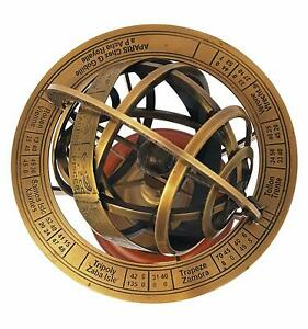 COLLECTIBLE-NAUTICAL-BRASS-SPHERE-ASTROLABE-ARMILLARY-GLOBE-DECOR-VINTAGE-GIFT