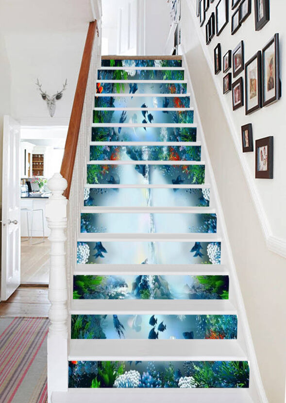 3D Meeresgrund 374 Stair Risers Dekoration Fototapete Vinyl Aufkleber Tapete DE