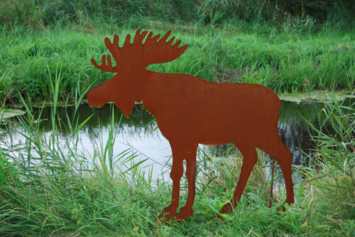 "Elch /""moose/"" 100 cm Edelrost Metall Rost Gartenstecker country style Gartendeko"