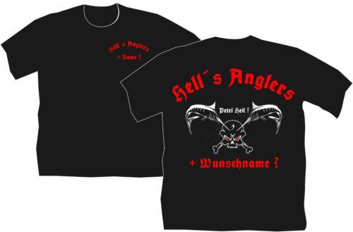 Anglershirt Angler T-Shirt Hells Anglers Skull Angeln Köder Höllenangler 100