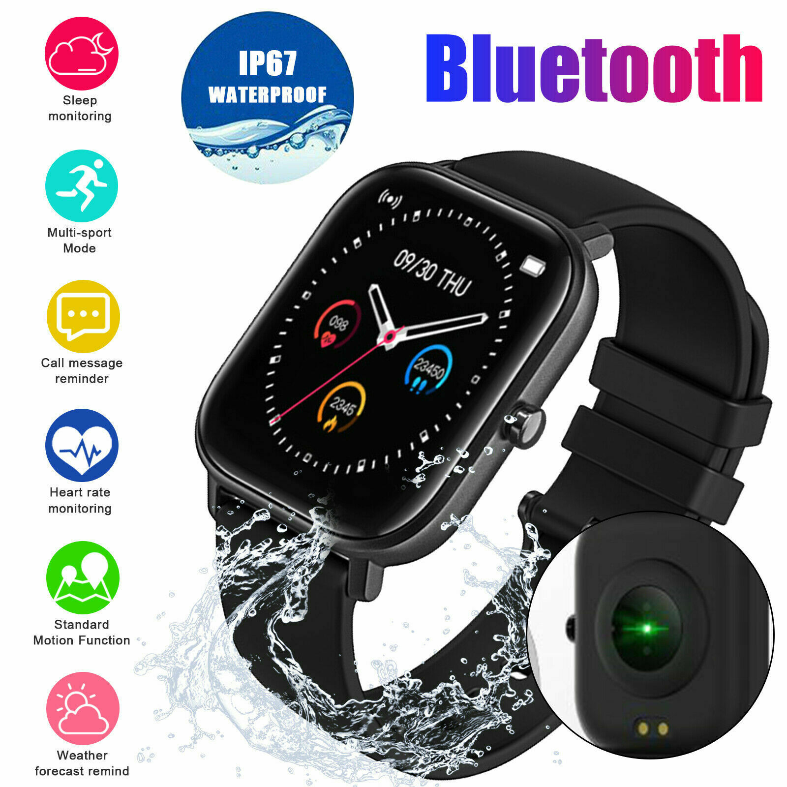 Waterproof Smart Watch Fitness Heart Rate Blood Pressure Monitor for iOS Android blood Featured fitness for heart monitor pressure rate smart watch waterproof