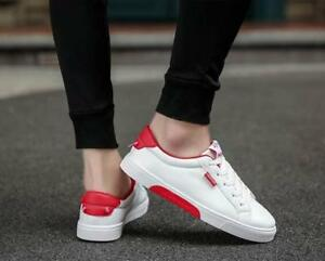 Men-039-s-Sports-Applique-Pu-Low-Top-Lace-Up-Sneakers-Casual-Running-Loafers-Shoes